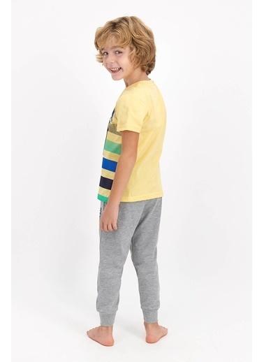 U.S. Polo Assn. Lisanslı Soluk Genç Erkek Kısa Kol Pijama Takımı Sarı